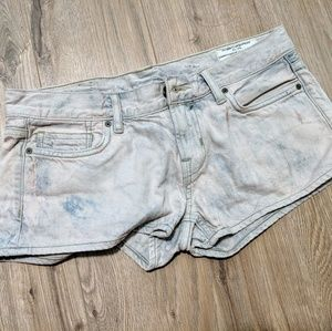 All saints low rise distressed wash denim short